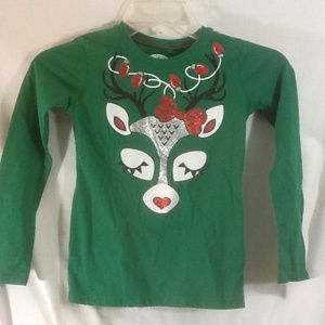 Girls Sz 6 - 6X HOLIDAY TIME Green Long Slv Shirt